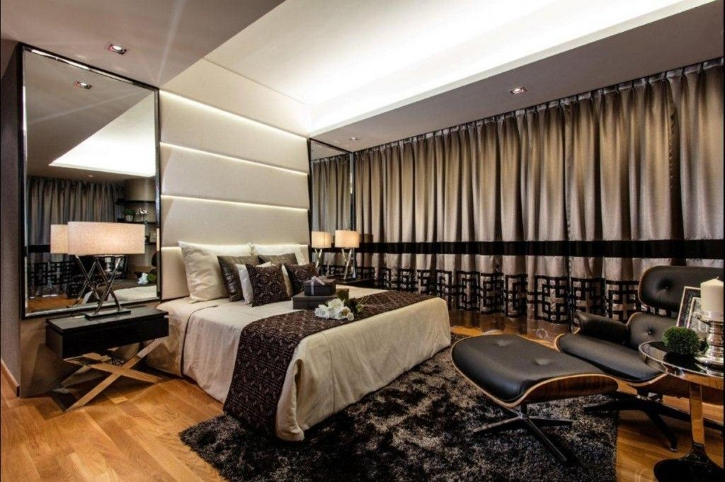 Singapore Apartment Modern Design Ideas. bedroom with curtain shutter of the window looks solitarily