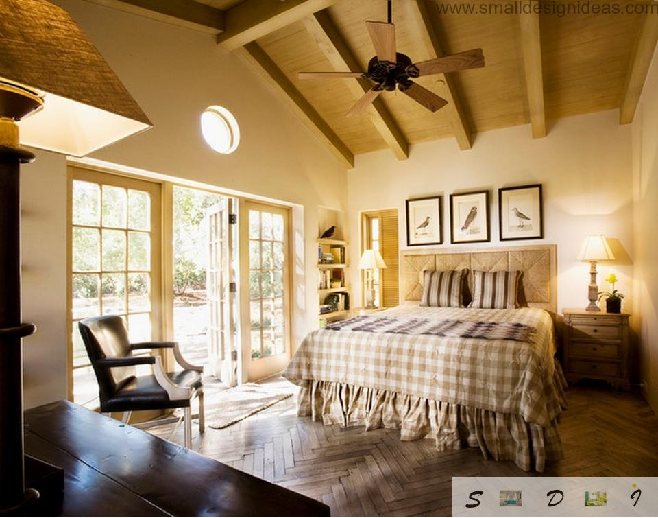Provence Style Bedroom Design in the private house with ceiling fan