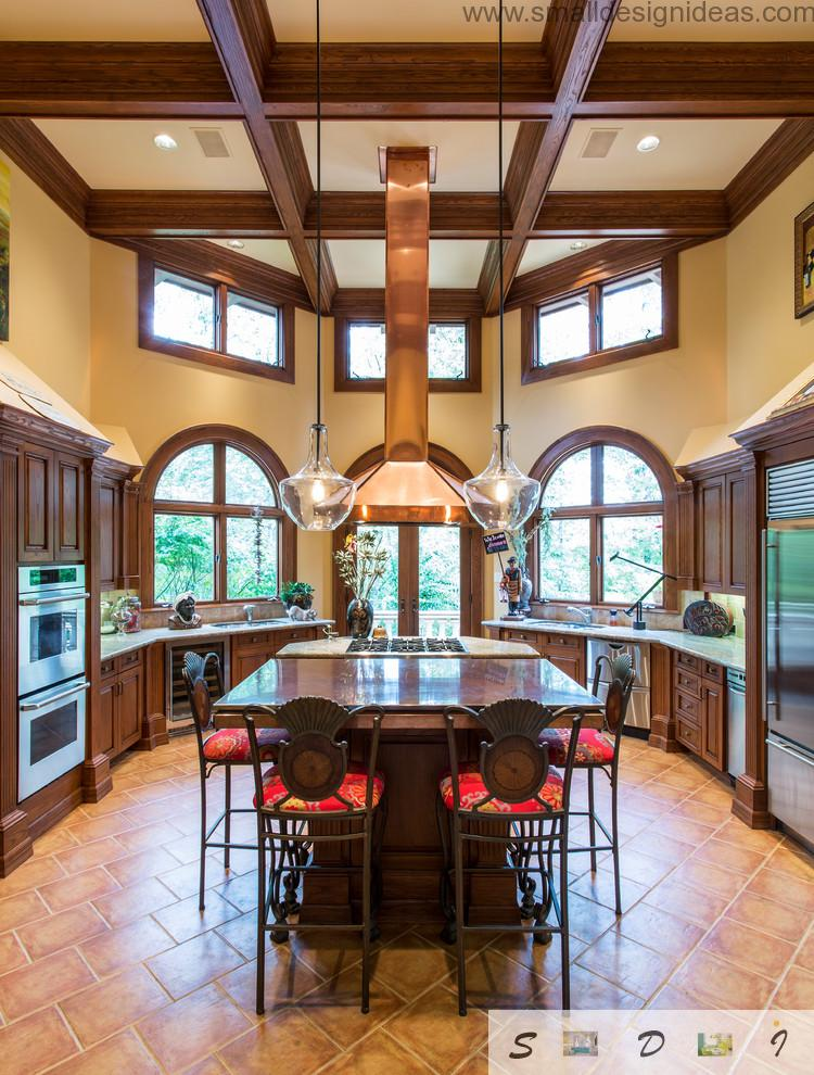 high ceilings and oriel as the design element of the overall kitchen image