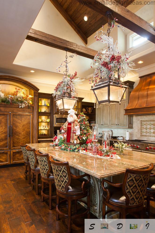 Rustic Oriental style of the kitchen arrangement