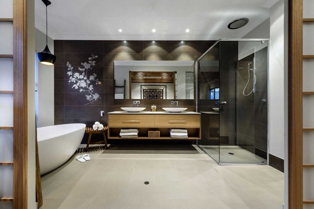 Spacious dark azure bathroom in the oriental style