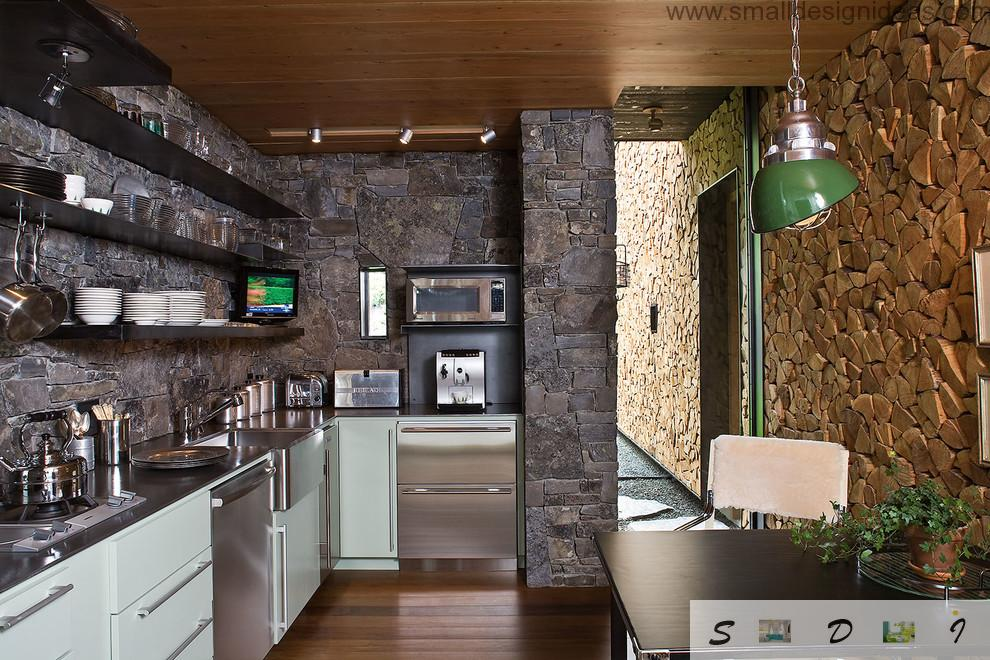 Grained structure of the dark material for decoration of the kitchen space