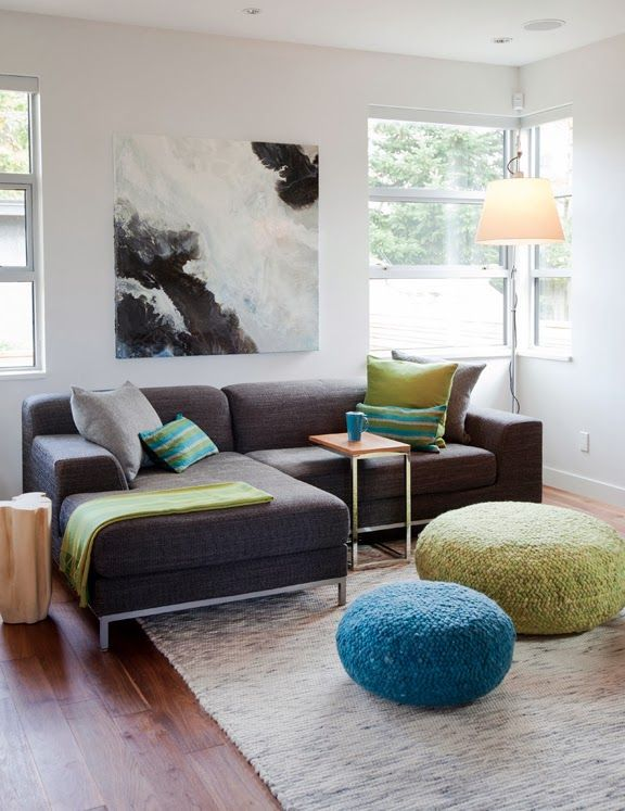 Colorful design of the living room in the private house in mix of modern styles
