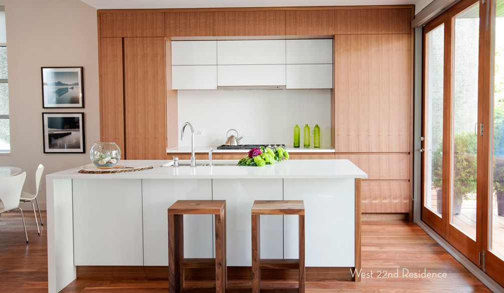 A touch of austerity in the wooden kitchen interior of the Canadian house