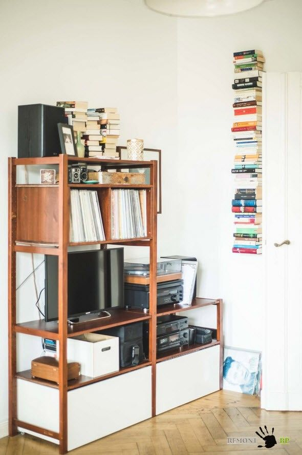 Berlin Apartment Retro Style Modern Interior Design. Rest zone full of shelves