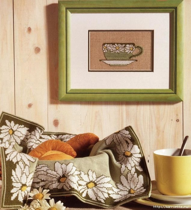 Embroidery Interior Design Ideas in the form of picture with cup of coffee