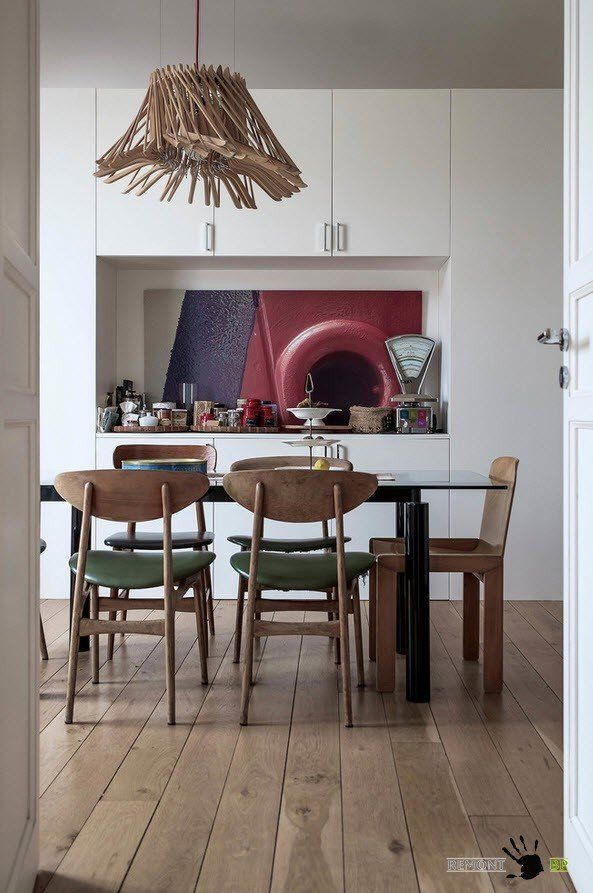 Italian Apartment Modern Interior Design. Eclectic Vintage Mix in the dining room