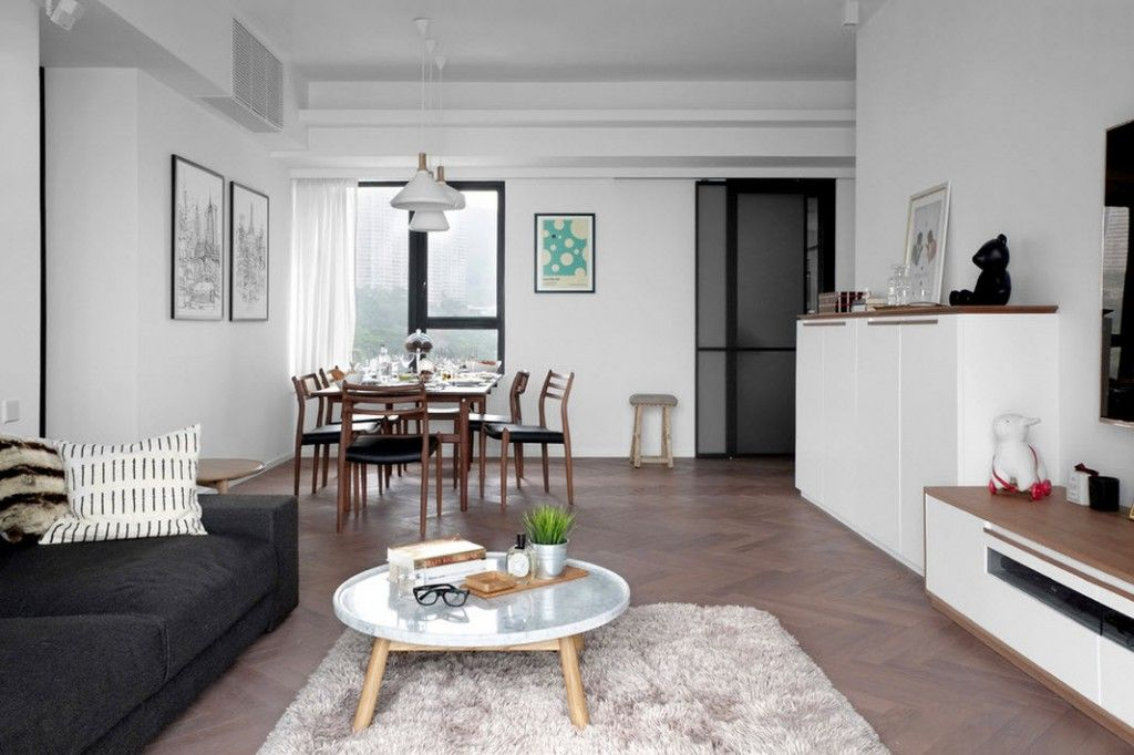 Shanghai Apartment Interior Design Ideas. Dining zone in the living and dining area