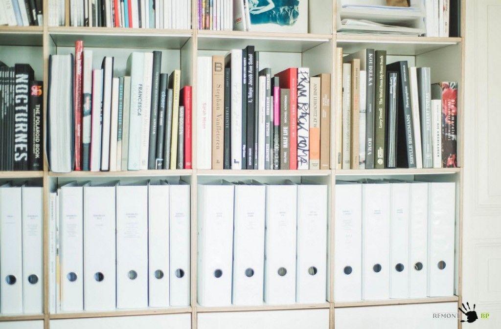 Book shelves in retro apartment