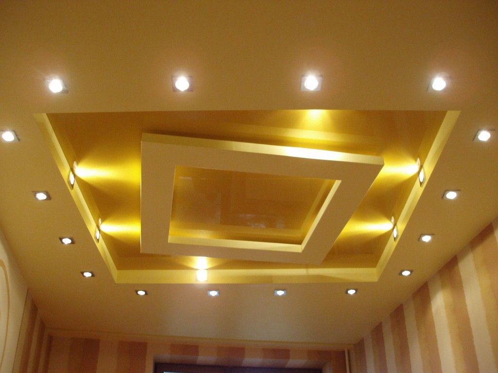 Living Room Lighting Placement Schemes. Plastered ceiling with spotlight in complicated design