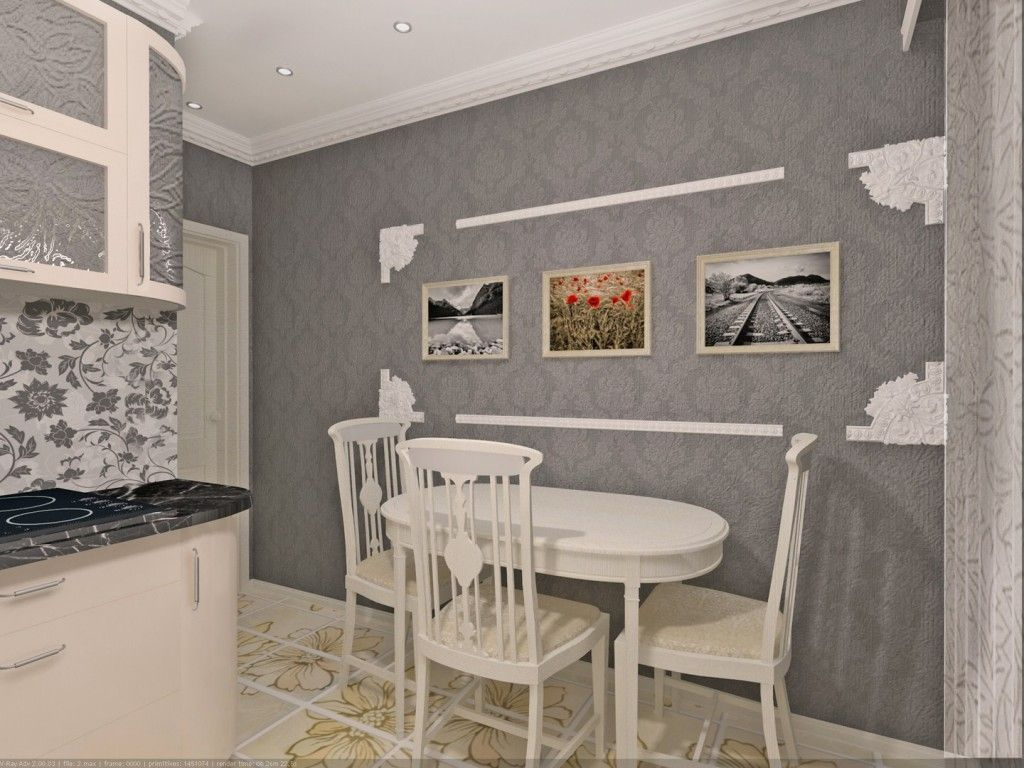 Reviving the gray inetrior of the kitchen with bright pictures