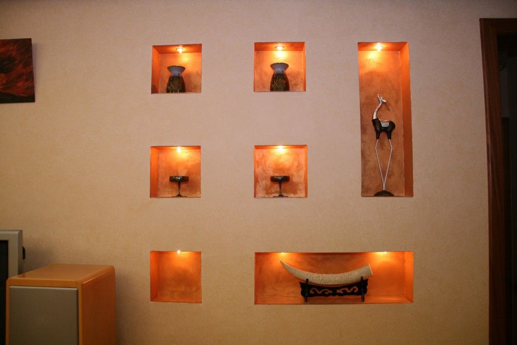 Living Room Lighting Placement Schemes. Wall shelves with recesses