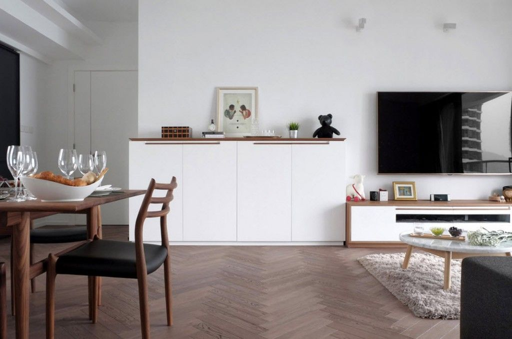 Shanghai Apartment Interior Design Ideas. Black and white contrast with wooden dilution