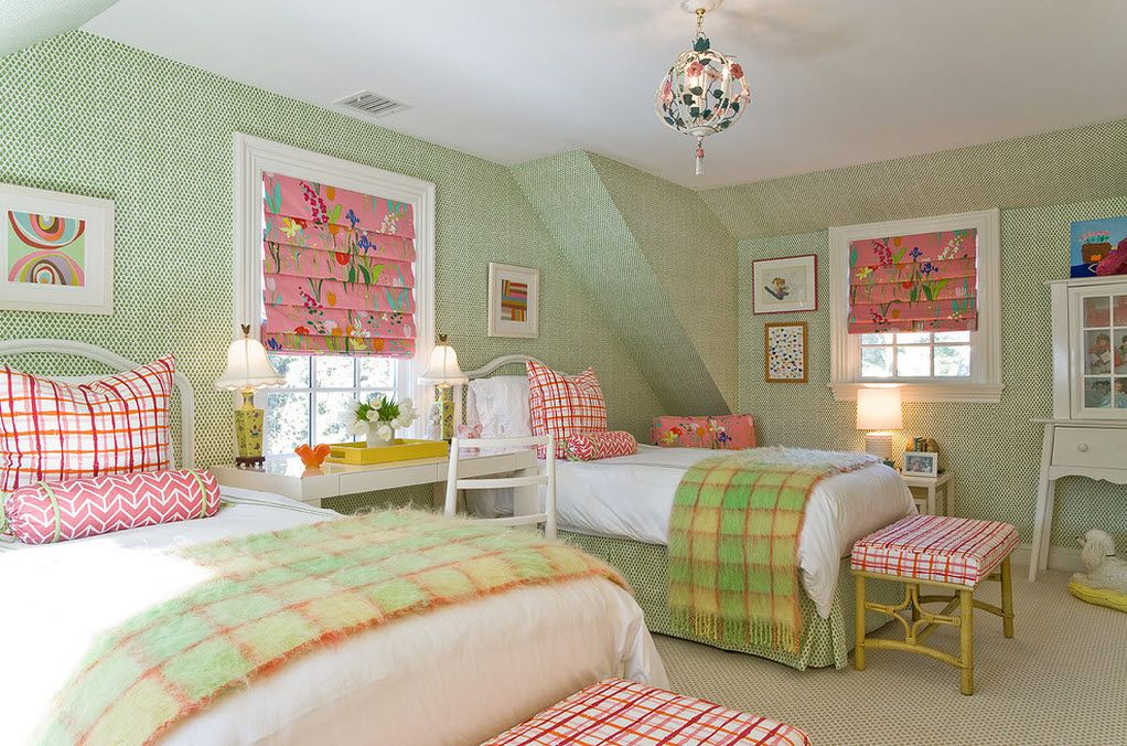 Proper Childrens Room Lighting Advice Photos. Modest chandelier in the greenish interior