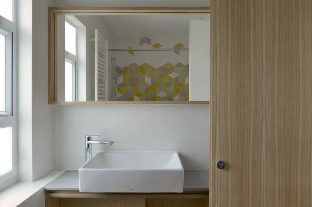 White Minimalistic Hong Kong Apartment Interior Design Ideas. Bathroom With  Mosaic Tile And White Theme