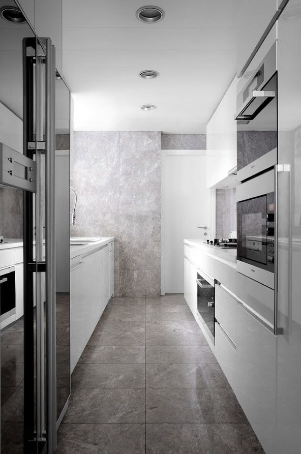 Shanghai Apartment Interior Design Ideas. Galley kitchen with gray slightly dotted big ceramic tiles