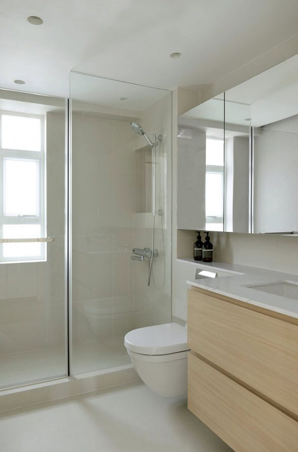 White Minimalistic Hong Kong Apartment Interior Design Ideas Bathroom With Mosaic Tile Toilet