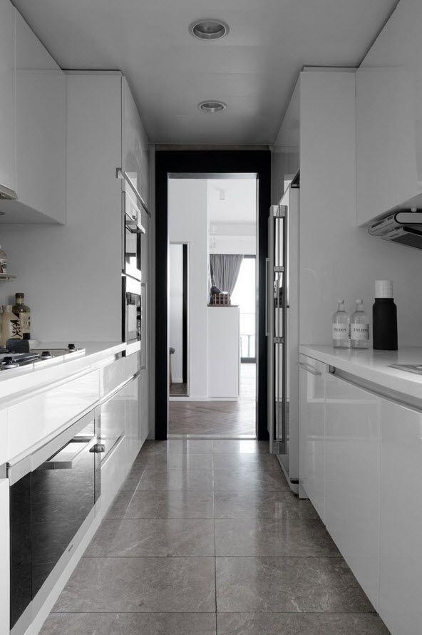 Shanghai Apartment Interior Design Ideas. Galley kitchen two rows design