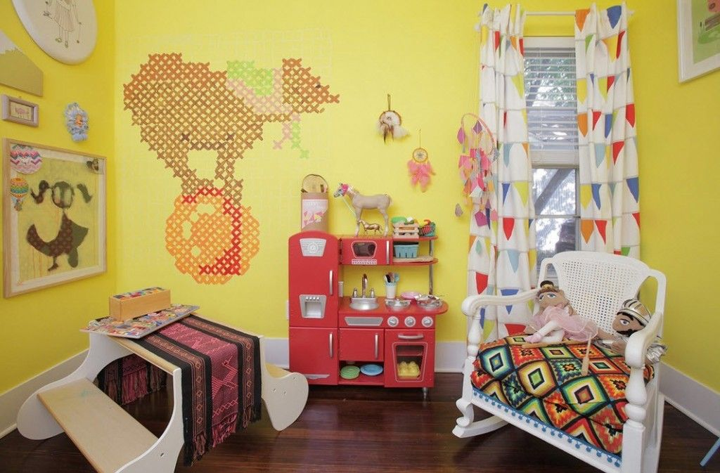 Wall embroidery in the children`s room
