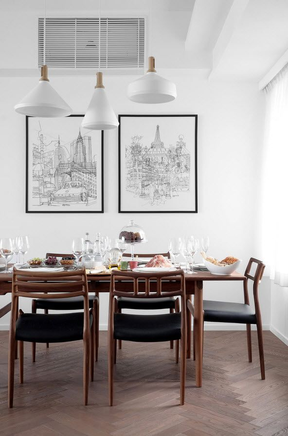 Shanghai Apartment Interior Design Ideas. Dining zone with wooden classic table and black leather upholstered chairs