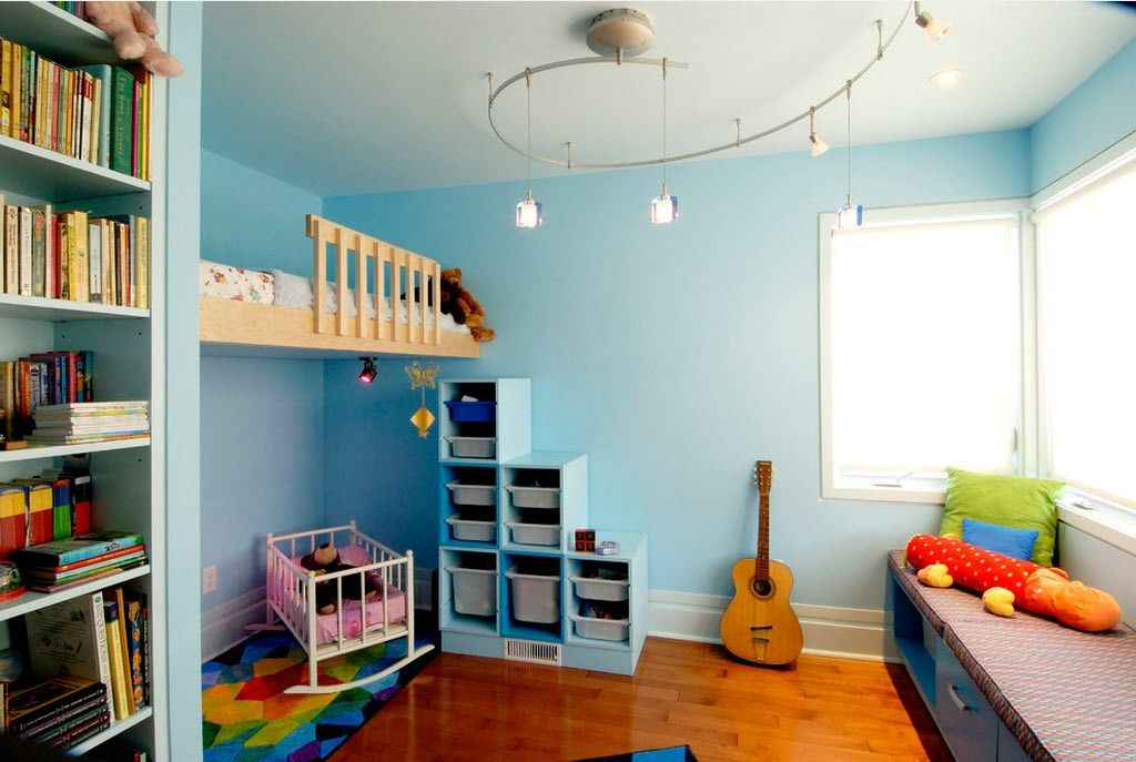 Proper Childrens Room Lighting Advice Photos. Bluish boy`s theme for arrangement of the kids room with neutral lighting