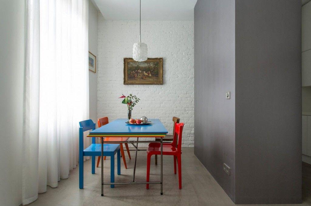Small 150 Square Feet German Apartment Interior Design Ideas. Dining zone with joyful furniture set