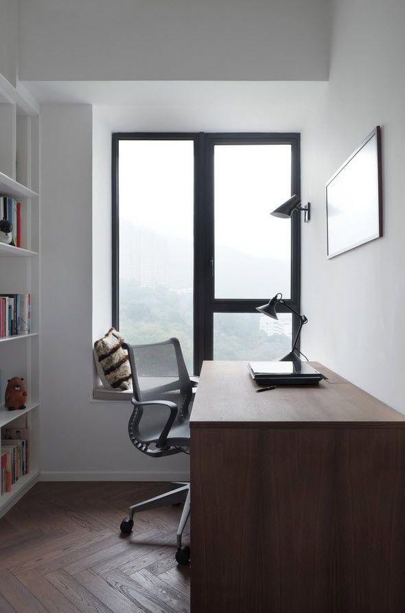 Shanghai Apartment Interior Design Ideas. Home office with minimalistic three-color design utilizing space