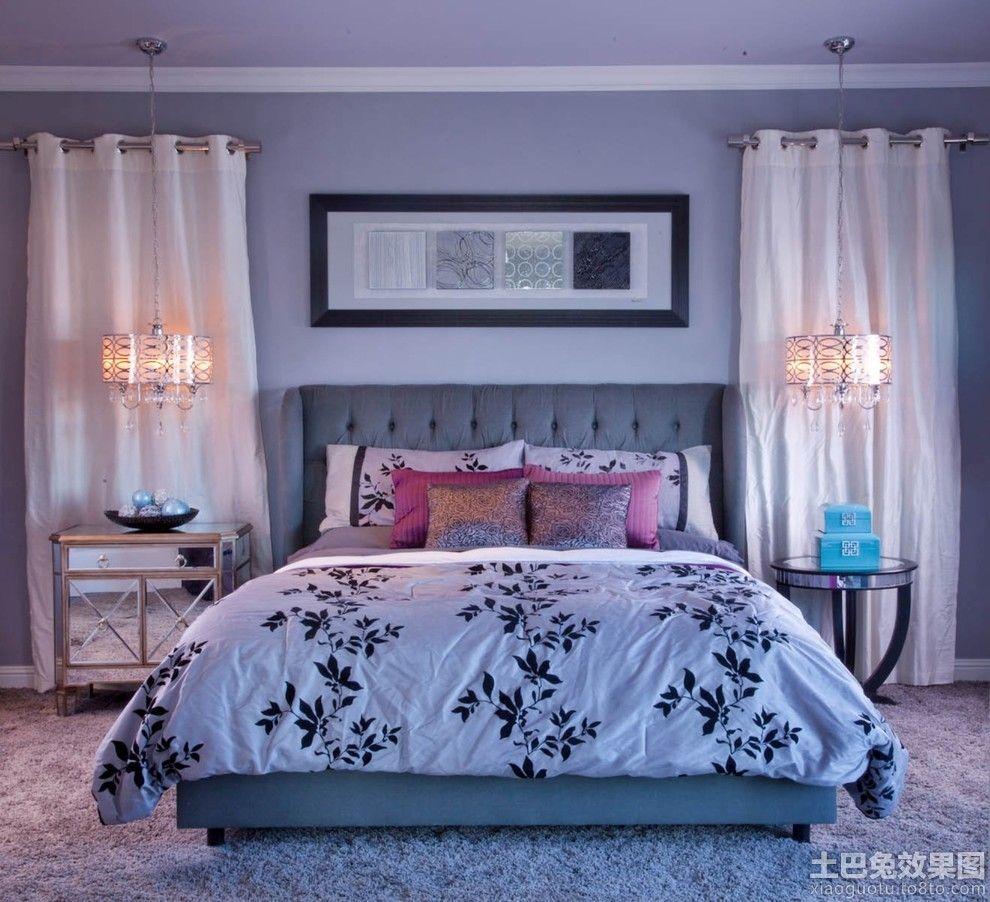 Proper Bedroom Interior Lighting Schemes Photos. Blue linen and modest lighting