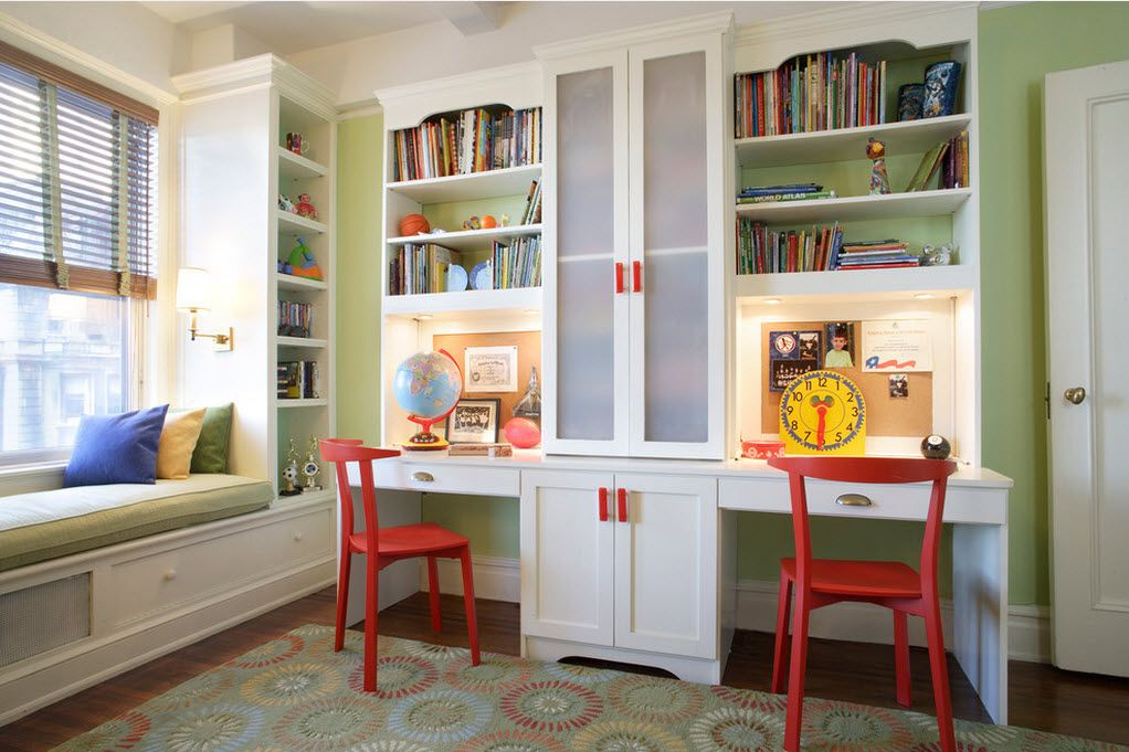 Proper Childrens Room Lighting Advice Photos. Study for kids with red chairs