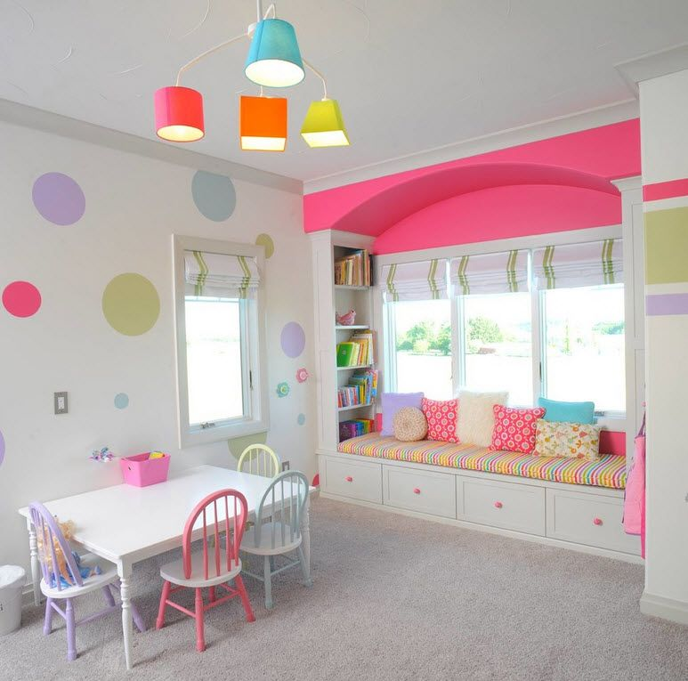 Proper Childrens Room Lighting Advice Photos. Pinky design for little princesses with colorful lampshades
