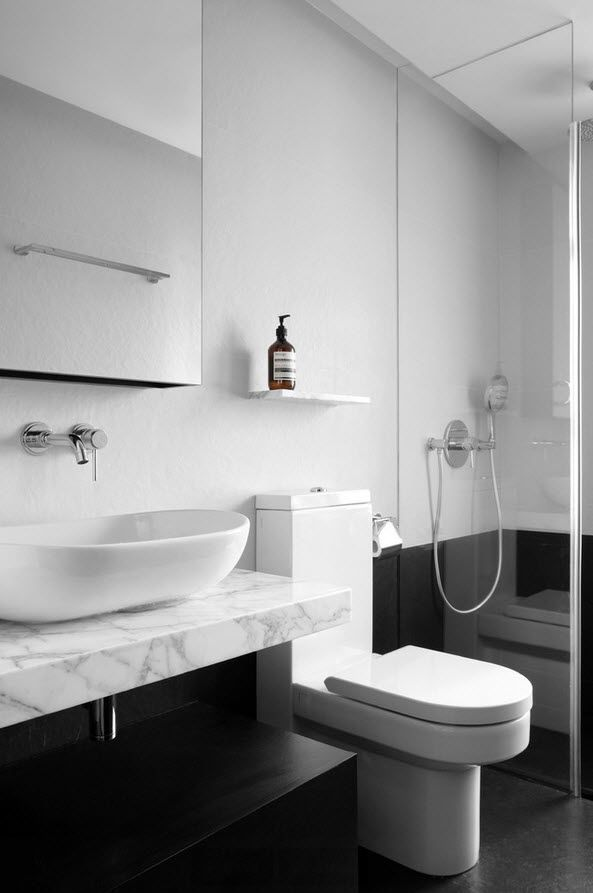Shanghai Apartment Interior Design Ideas. Combined Bathroom with white and black color gamma