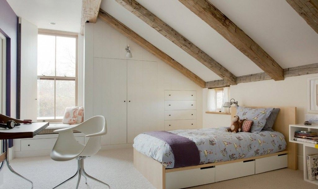 Сhildren`s Room Interior Design Ideas 2015. Slanting wooden beemed ceiling gives the look of neat cave