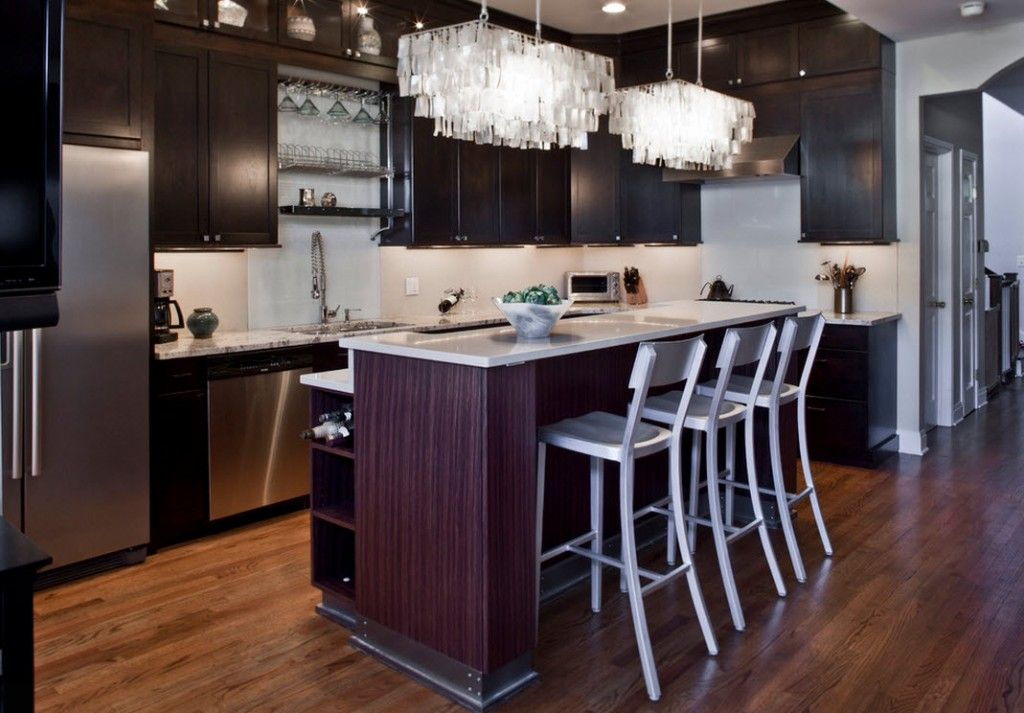 Stylish Kitchen Chandelier Types: Classic to Avant-Garde. Interesting dark and white contrasting design emphasized of the glass unique lamp sections