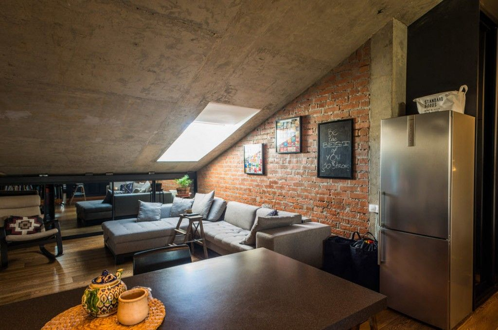 Skylight of the loft industrial apartment interior