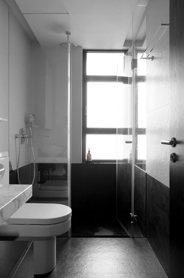 Shanghai Apartment Interior Design Ideas. Nice glass shower cabin in the contrasting Oriental hi-tech bathroom