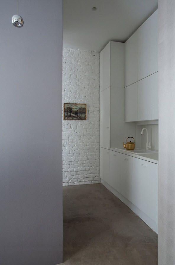 Small 150 Square Feet German Apartment Interior Design Ideas. Original minimalistic white kitchen