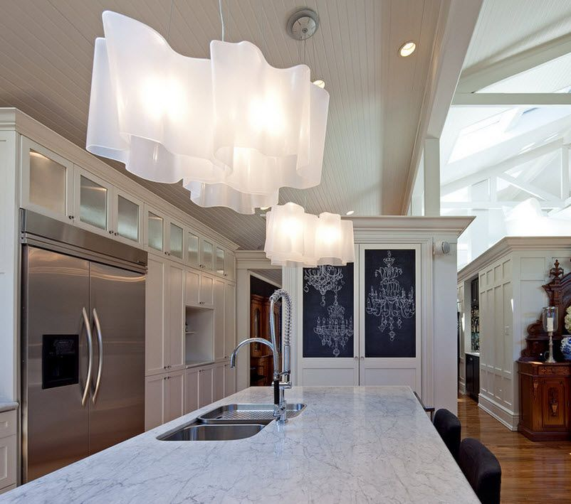 "Stylish Kitchen Chandelier Types: Classic to Avant-Garde. unusual matted glass ""petals"" of the lampshades"