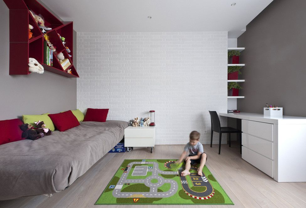 Сhildren`s Room Interior Design Ideas 2015. Neutral white trimming and the gaming zone for the baby