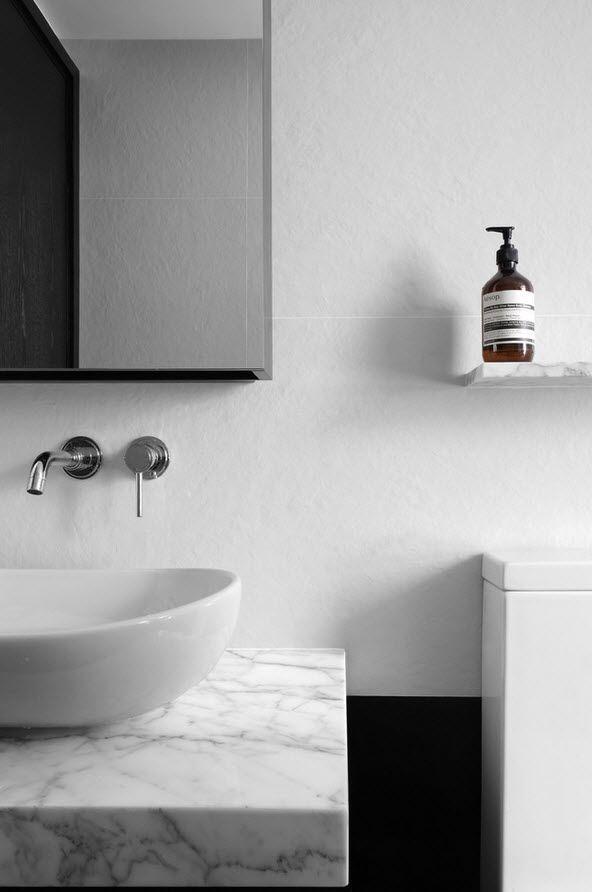 Shanghai Apartment Interior Design Ideas. Ehite interior of the bathroom looks organically with small taps