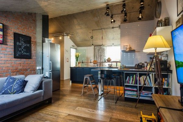 Loft Studio Apartment Interior Design Ideas. Overall glance at the apartment all in one