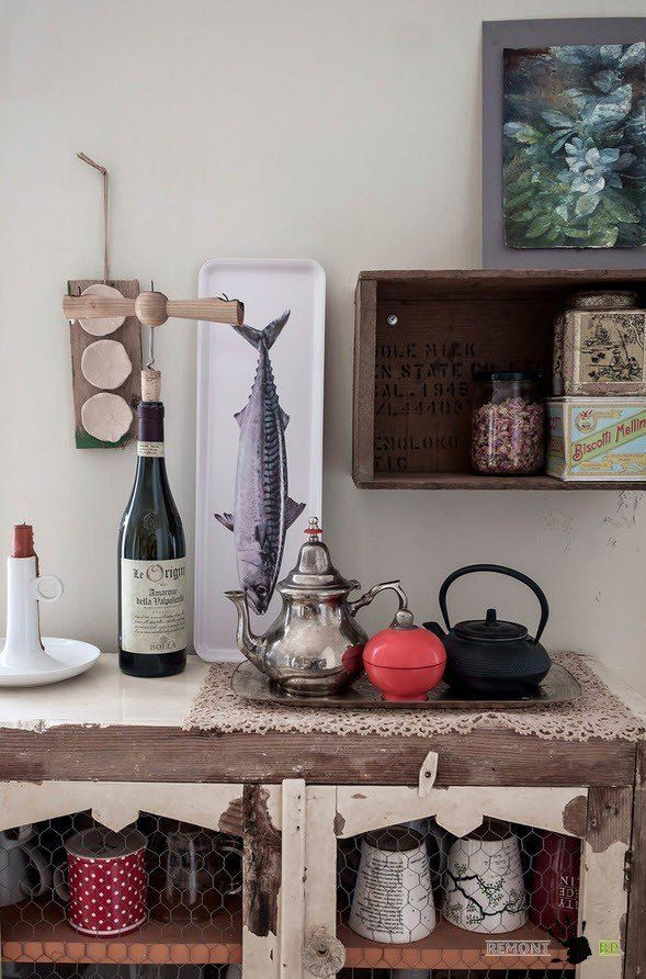 Italian Apartment Modern Interior Design. Eclectic Vintage Mix in the kitchen