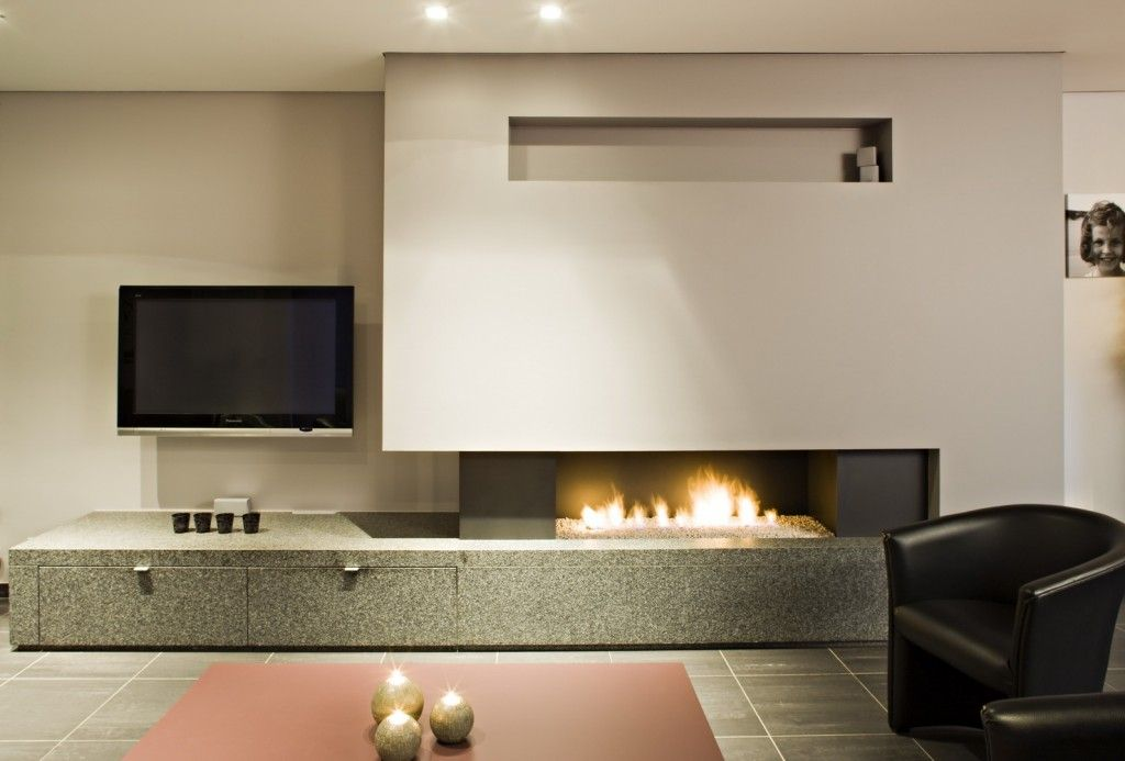 Modern Interior Fireplace Main Types. Modern gas fireplace in the living