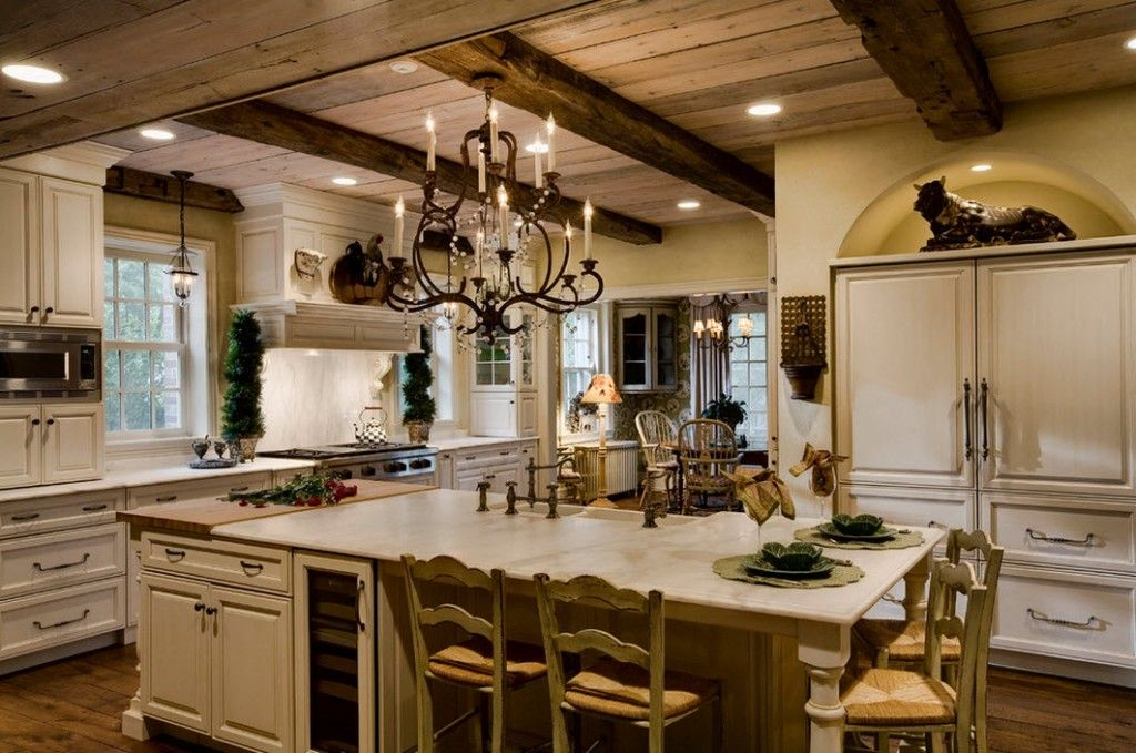 Stylish Kitchen Chandelier Types: Classic to Avant-Garde. Country style interior of the kitchen accept the candles too
