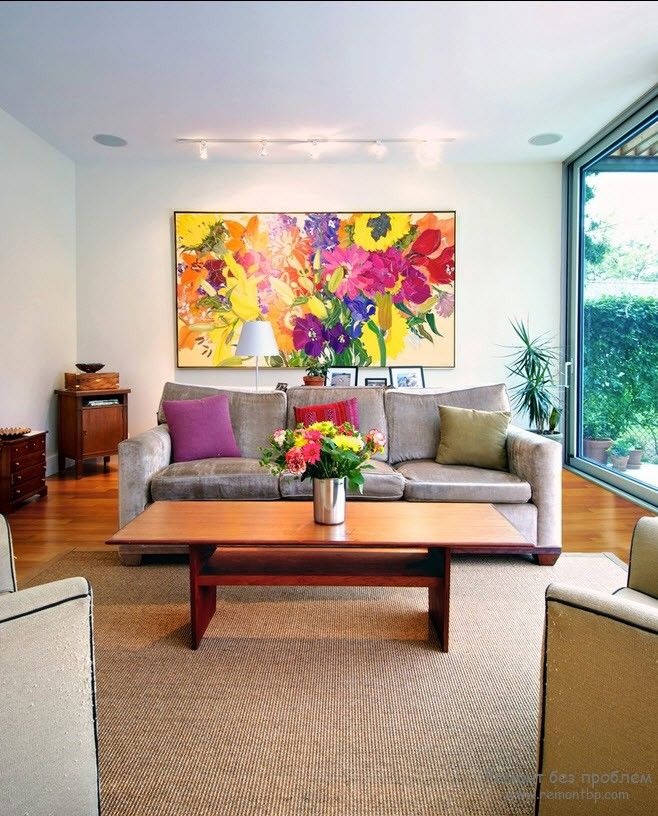 Modern Interior Pictures Placement Advice. Colorful picture to enliven the space