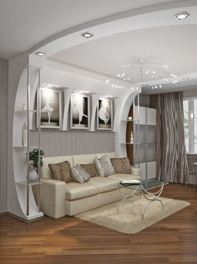 Living Room Lighting Placement Schemes in the snow-white interior with shelvings-partitions of functional zones