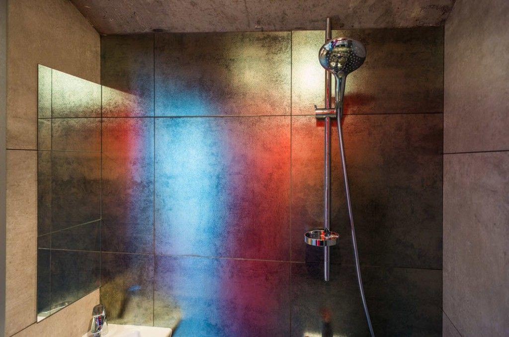 Loft Studio Apartment Interior Design Ideas. Bathroom in silver painted large tile
