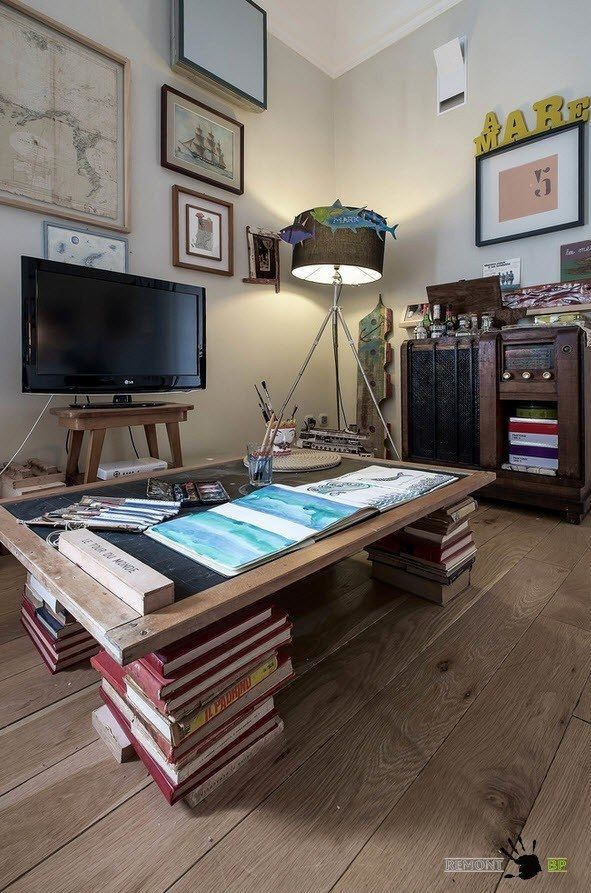 Italian library room decorated with books and LCD TV