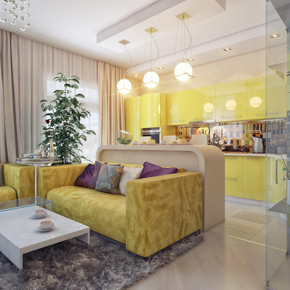 Original living room and bedroom zoning ideas 36