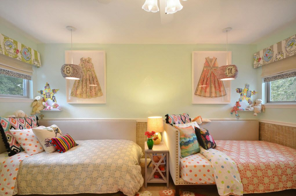 Proper Childrens Room Lighting Advice Photos. Two beds in the creamy soothing interior