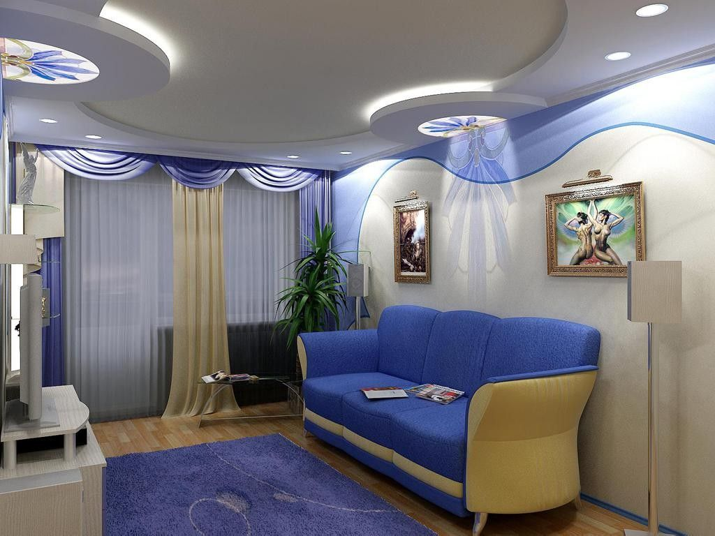 Living Room Lighting Placement Schemes. bluish interior design with original corner spotlight sections